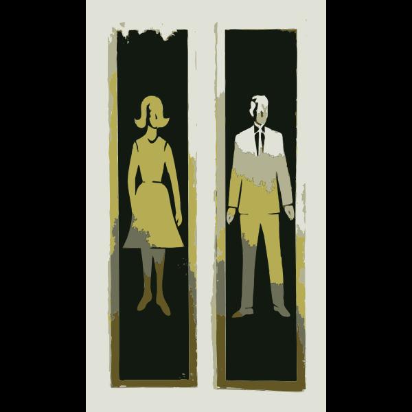 Man and woman bathroom sign