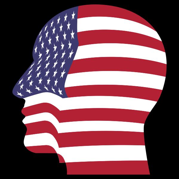 Man Head America Flag With Stroke