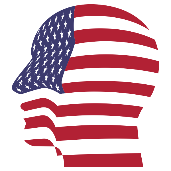 Man Head America Flag