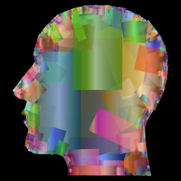 Man Head Silhouette Geometric Texture