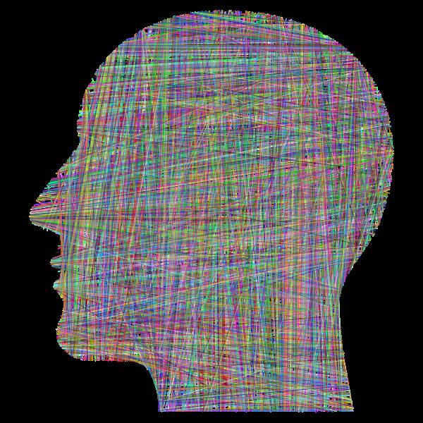 Man Head Silhouette Geometric Lines Prismatic