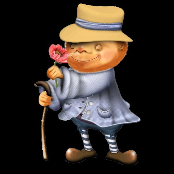 Man sniffing flower