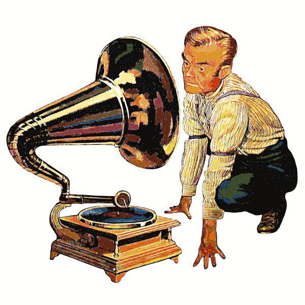 Vector illustration of man and a gramophone