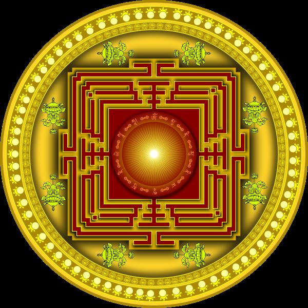 Image of yellow, red and orange mandala design