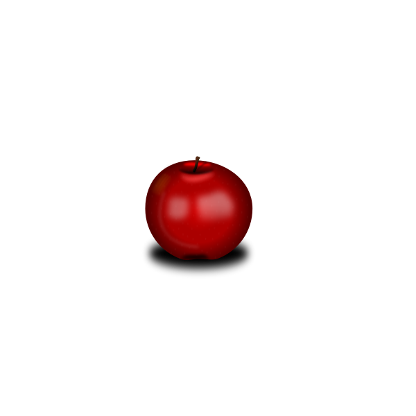 Vector drawing of small red shiny apple