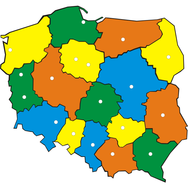 Map of Poland with administrative regions