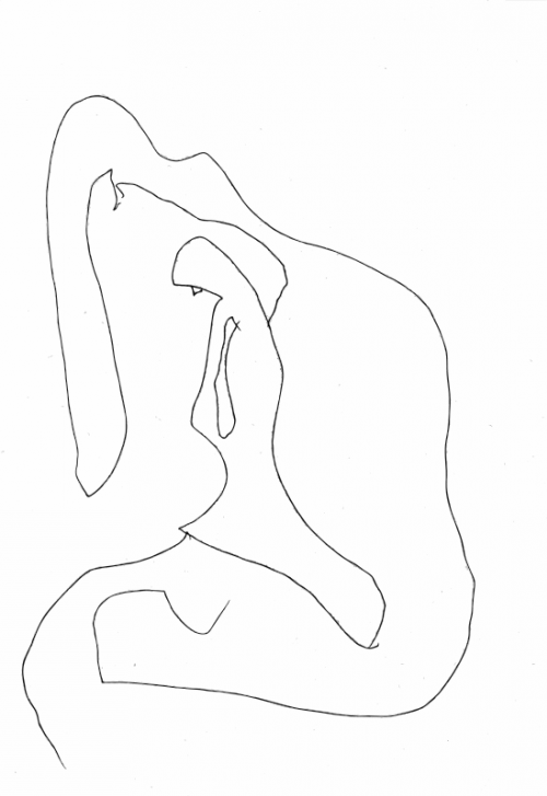Mary outside the cave pen drawing