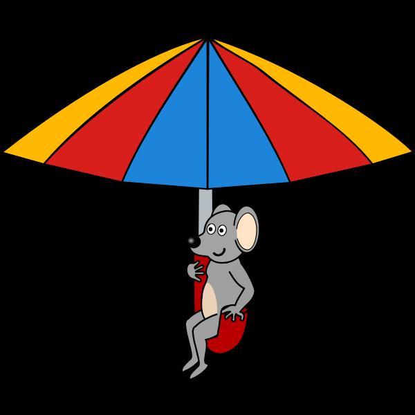 Mouse under umbrella vector clip art