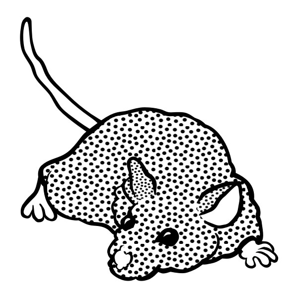 Clip art of spotty mouse in black and white