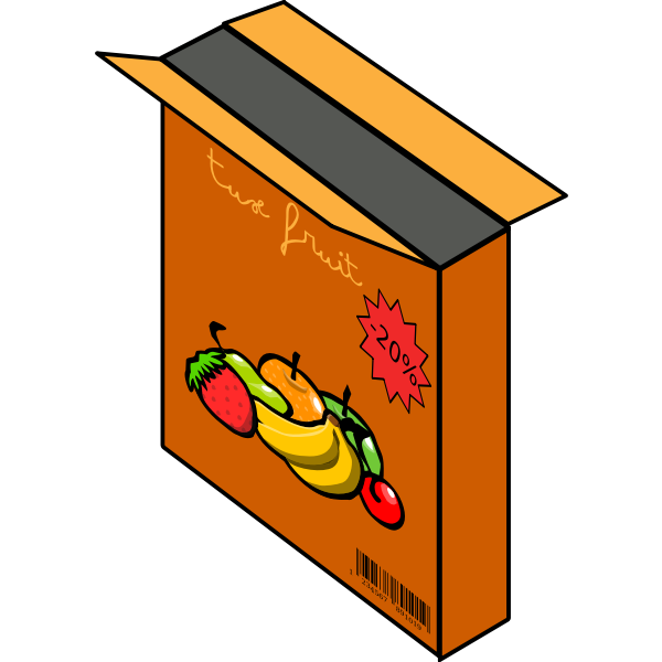 Vector illustration of cereals with fruit box