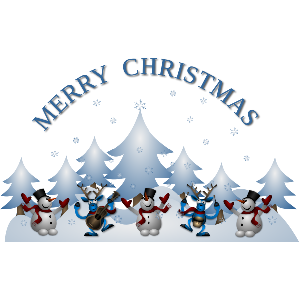 Snowman and dancing raindeer with guitar Merry Christmas greeting card vector illustration