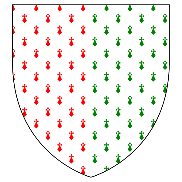 Shield with red and green Christmas heraldry vector illustration
