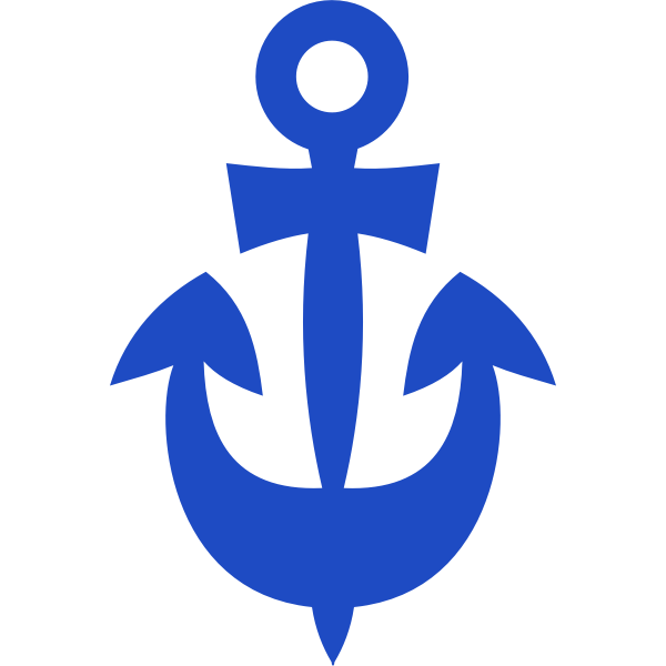 Blue ship anchor vector image
