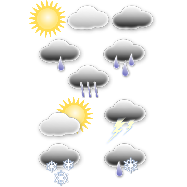 Vector graphics of selection of pastel colored weather forecast icons