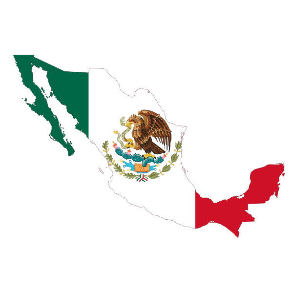 Mexico's flag and map