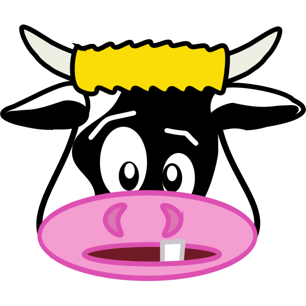 Vector image of old cow