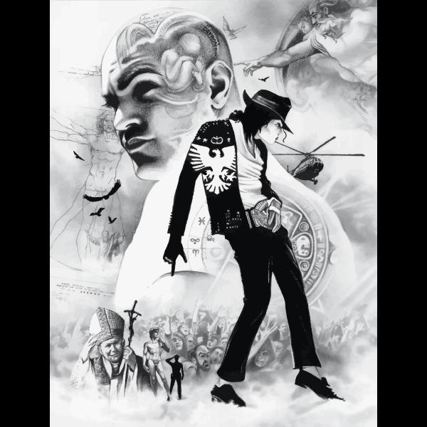 Michael Jackson Pencil Sketch Montage Free Svg