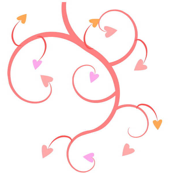 Branch of hearts vector drawing