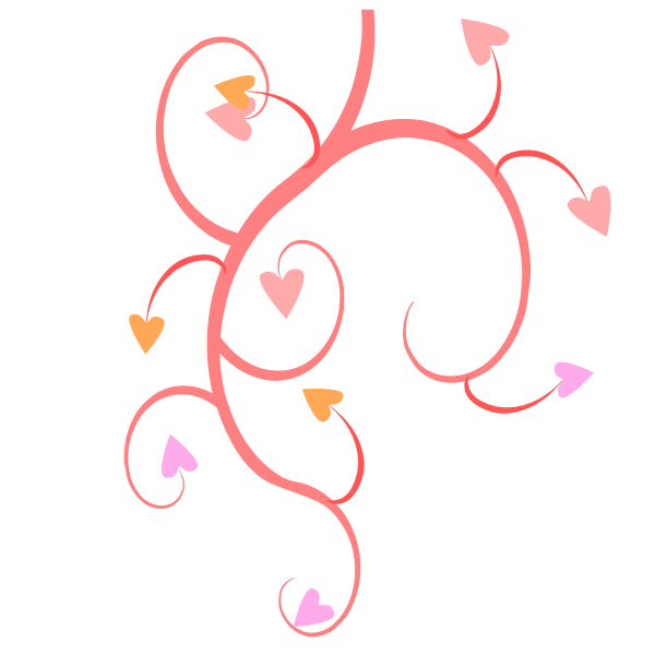 Branch with leaves of hearts vector graphics