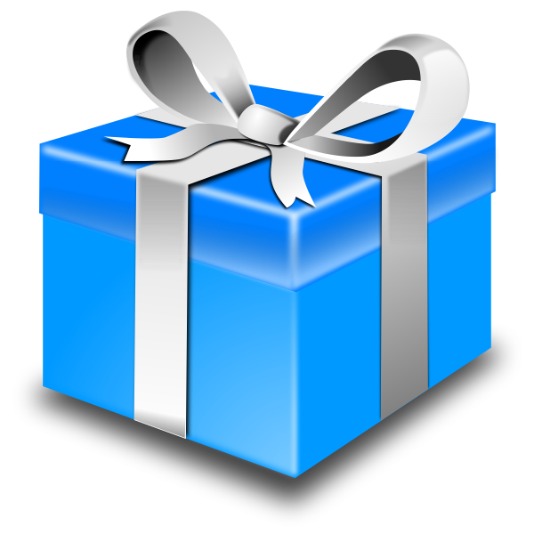 Christmas present with silver ribbon vector illustration