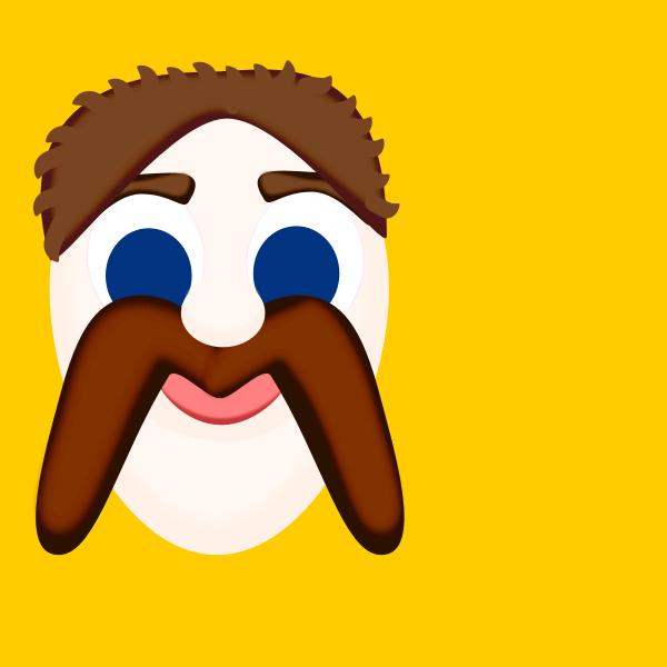 M for mustache vector clip art