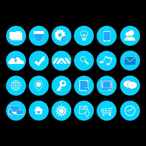 Modern Blue Icons Set