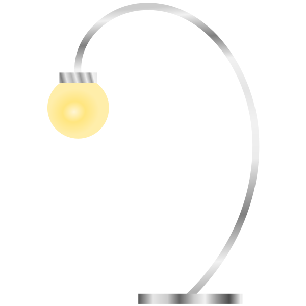 Vector graphics of modern desk lamp with yellow light