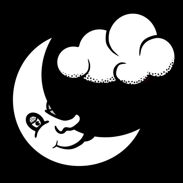 Vector graphics of sleepy moon and cloud