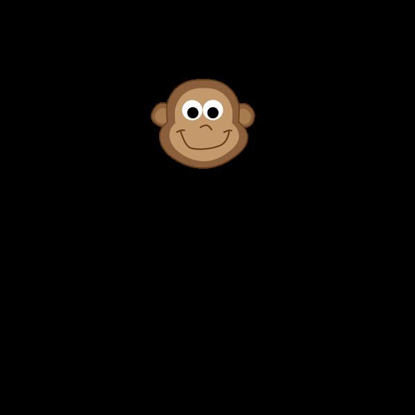 Vector drawing of cartoon monkey baby