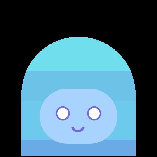 Monster head in blue