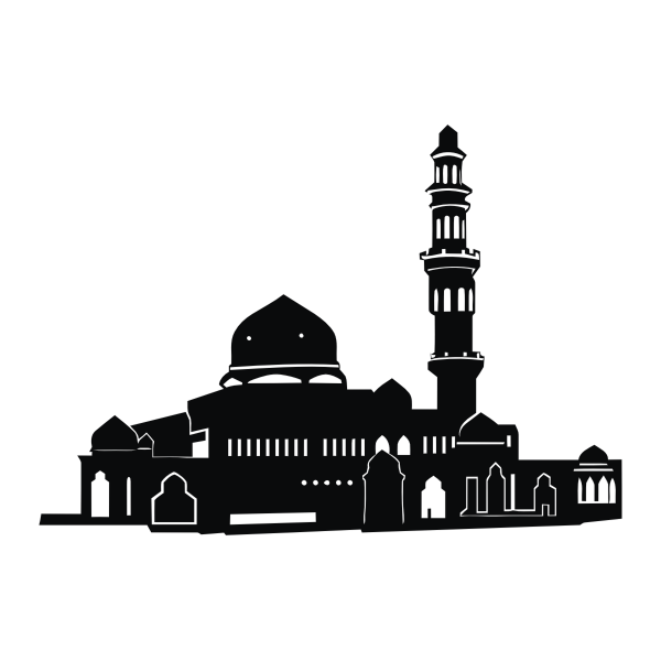 Wide mosque black and white silhouette vector image