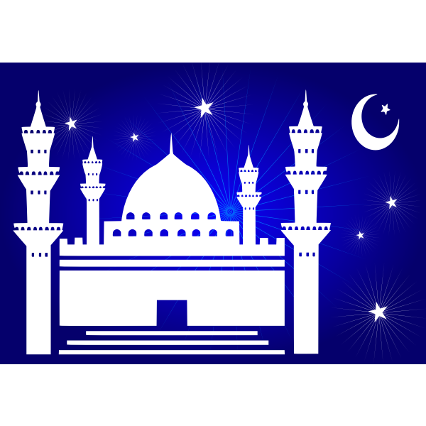 Vector clip art of nightime mosque with stars and moon above