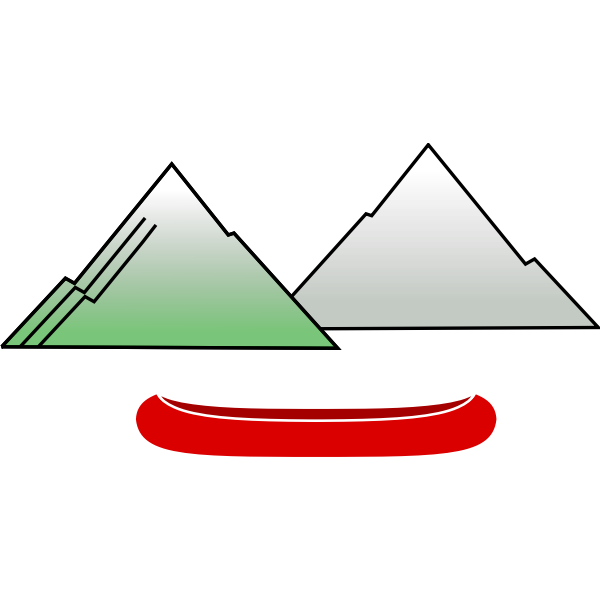 Canoe with mountains