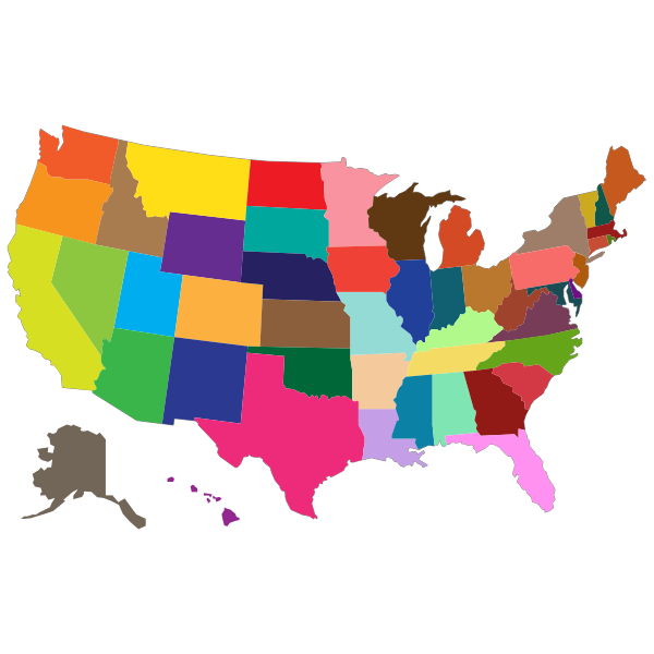 Multi-Colored United States Map