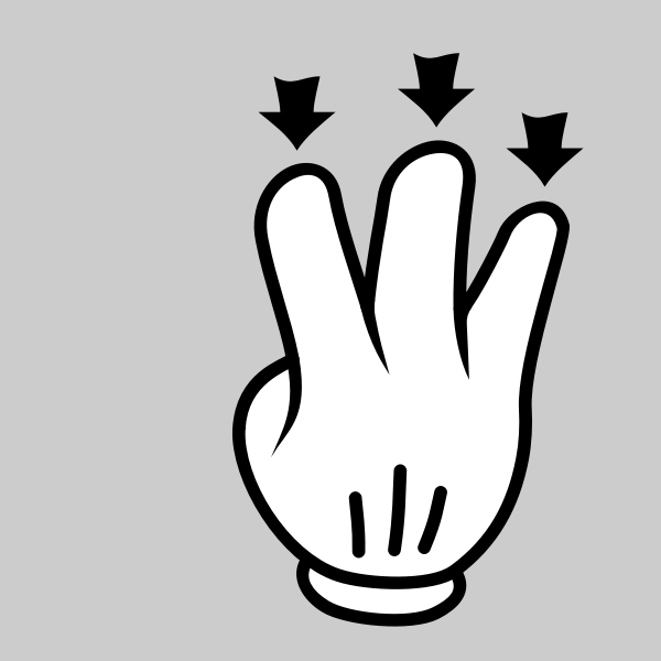 Three cartoonish fingers