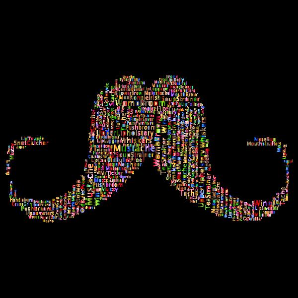 Mustache word cloud