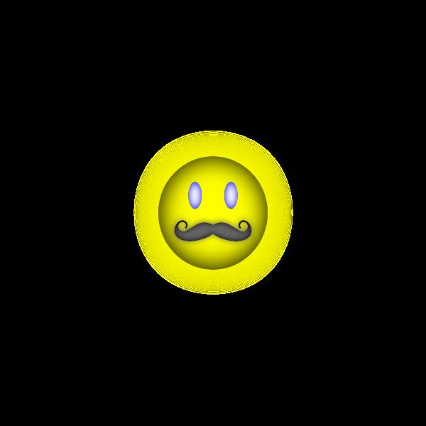 Happy emoticon with mustache vector clip art