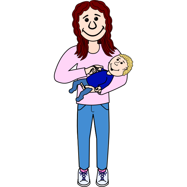 Mother with baby on her arm vector illustration