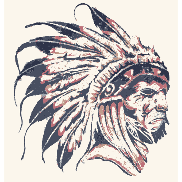 Native American street art vector drawing