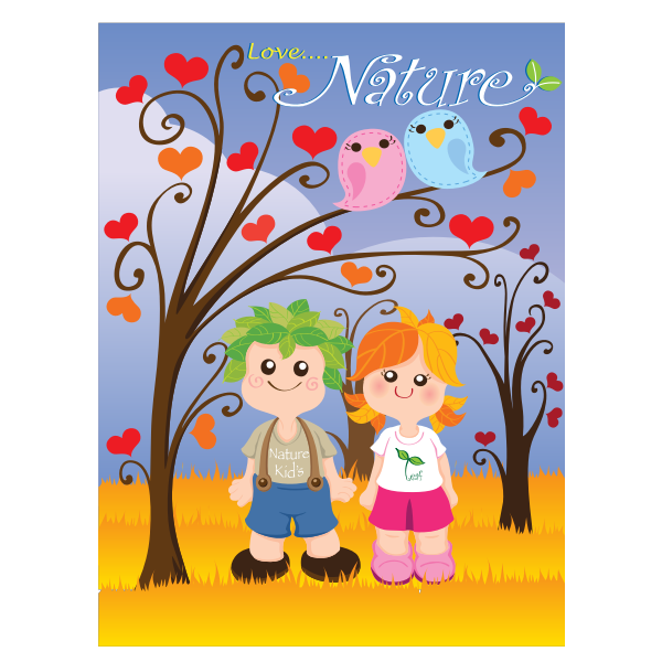 Vector clip art of kids in nature poster