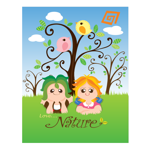 Vector image of love nature kid's poster