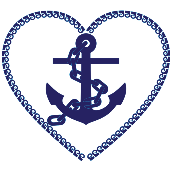 Nautical heart in blue