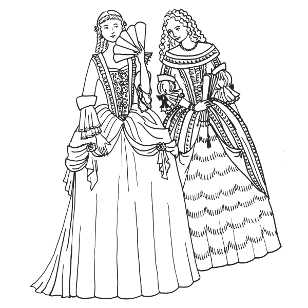 Two women in baroque dresses