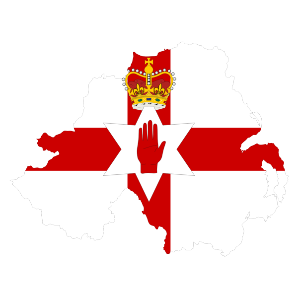 Northern Ireland's map and flag