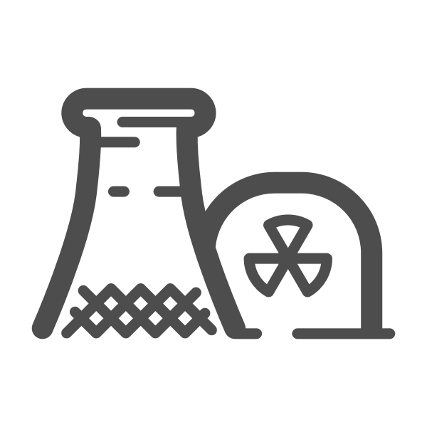 Nuclear power plant with grass silhouette vector graphics