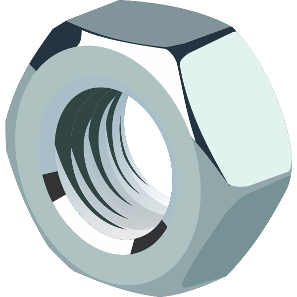 Vector image of high shine hex nut