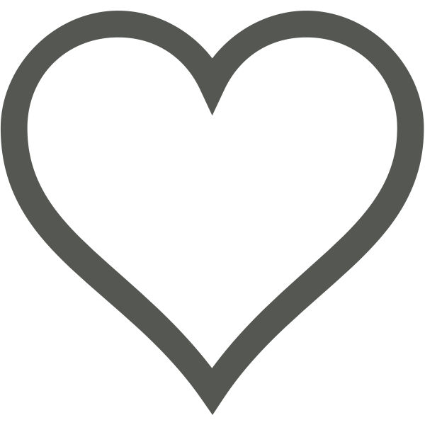 White heart with thick brown border vector clip art