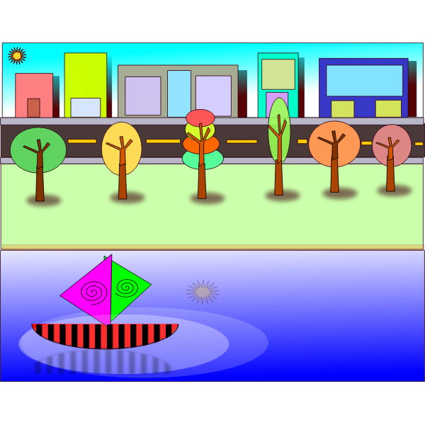 Vector illustration of coloring book city scene