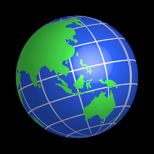 Oceania world globe vector image