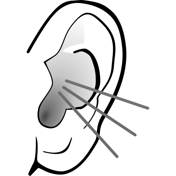 Vector graphics of grayscale listening ear